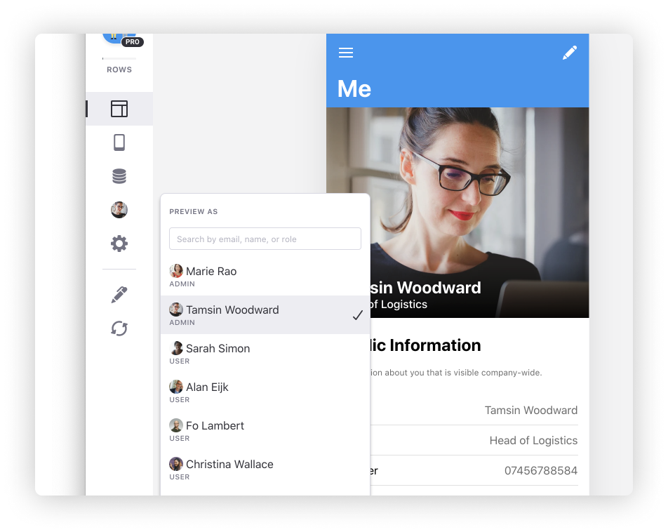 Prévisualisation des utilisateurs d'une app Glide