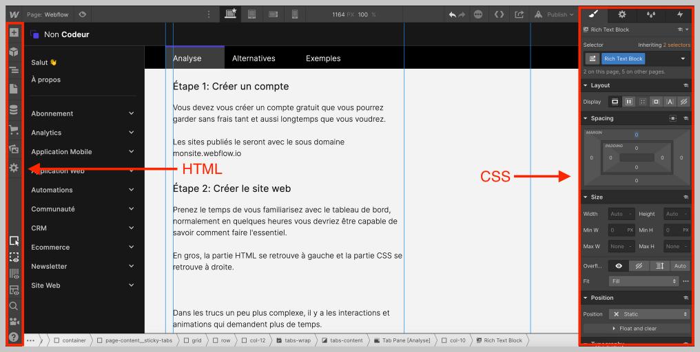 Le HTML et CSS dans l'interface Webflow
