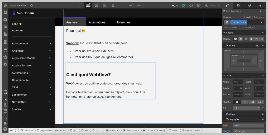 Le page builder de Webflow